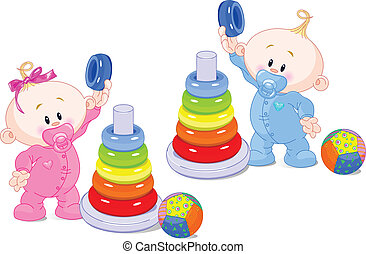 The toddler boy and girl play developing color pyramid.