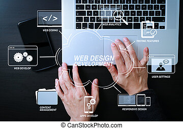 cyber security internet and networking concept. Businessman hand working mobile phone on laptop computer background