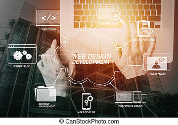 cyber security internet and networking concept. Businessman hand working with laptop computer with buildings exposure