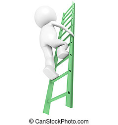 Development - 3D Little Human Character Climbing on a Green...