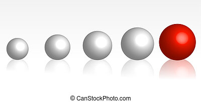 An illustration showing in size increasing balls with a single big red one at the end of the row, symbolizing a development.