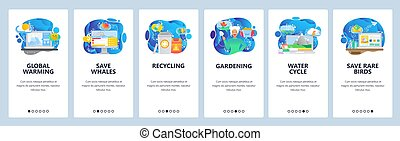 development., app, global, site, onboarding, conception, toile, changement, gabarit menu, gaspillage, site web, plat, recyclage, illustration, animals., screens., bannière, climat, sauver, mobile, chauffage, vecteur