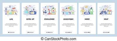 development., app, konsol, onboarding, vr, computer, video, væv, screens., menu, controller., skabelon, idræt, website, lejlighed, illustration, site, boldspil, cybersport, banner, ambulant, vektor, konstruktion