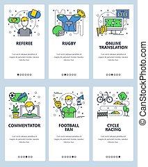 development., art, app, moderne, site, race., écrans, onboarding, conception, sport, template., toile, game., vélo, commentateur, site web, plat, linéaire, football, proffesional, cycle, rugby, illustration., arbitre, fan., mobile, vecteur, menu, bannières
