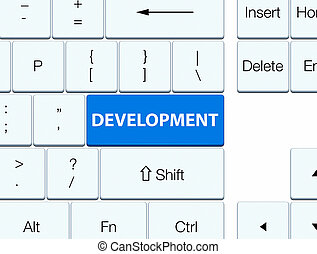 Development blue keyboard button