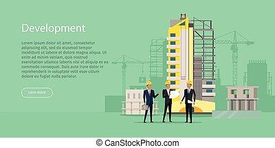 Development. Building Process. Three Businessmen