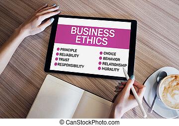 development., business, screen., concept, appareil, éthique