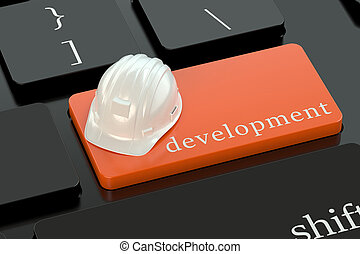 Development concept on red keyboard button