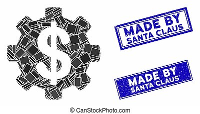 Development Cost Mosaic and Distress Rectangle Made by Santa Claus Stamp Seals