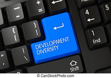 Development Diversity Close Up of Blue Keyboard Key. 3D Rendering.