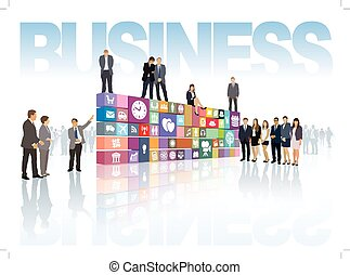 Group of people shows now developed business web page or software
