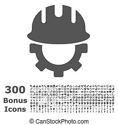 Development Hardhat Flat Glyph Icon with Bonus