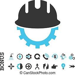 Development Hardhat Flat Vector Icon With Bonus
