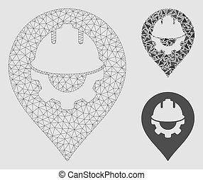 Development Helmet Marker Vector Mesh 2D Model and Triangle Mosaic Icon