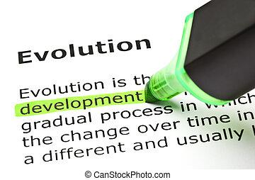 'Development' highlighted, under 'Evolution' - 'Development'...