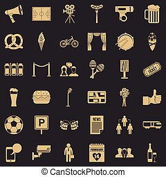 Development icons set, simple style