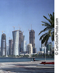 A view of the development underway in Doha, Qatar, Arabia, in the Spring of 2009. As the rest of the world dived into recession, Qatar's oil and gas wealth staved off the worst effects of the global downturn. (Shot with medium format film).