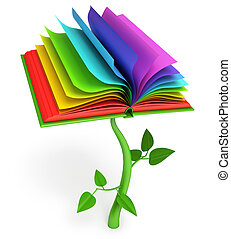 Development of education. Magic book. Fairy tale. White...