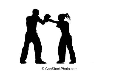 Development of straight kicks kickboxing on boxing paws....