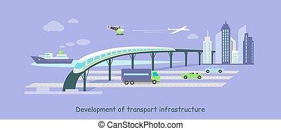 Development of Transport Infrastructure Icon Flat