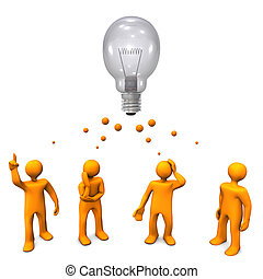 Orange cartoon characters with a big bulb. White background.