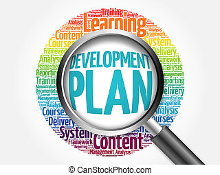 Development Plan word cloud with magnifying glass, business concept