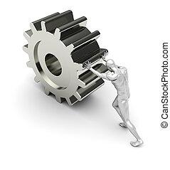 Development progress - Strong man pushes a metal gear ?...
