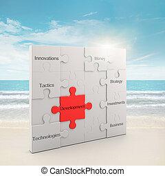 Development puzzle concept. 3d and photo montage
