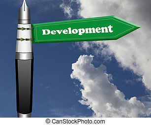 Development road sign