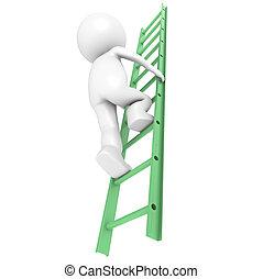 Development - 3D Little Human Character Climbing on a Green...