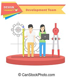 Development Team People Design Flat