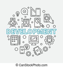 Development vector round business outline illustration