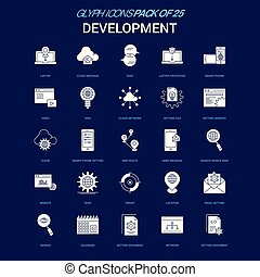 Development White icon over Blue background. 25 Icon Pack