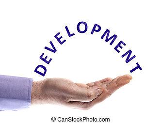Development word in male hand