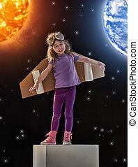 devenir, rêves, astronaute