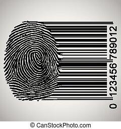 devenir, vecteur, illustration, barcode, empreinte doigt