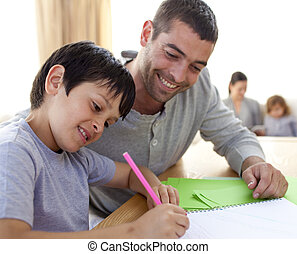 dever casa, seu, pai, filho, ajudando