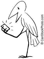 Device Bird Cartoon Line Drawing