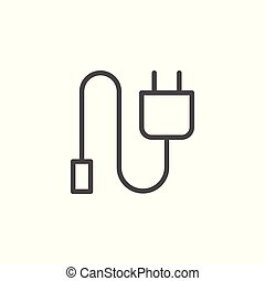 Device charger line icon isolated on white. Vector...