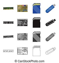 Device, components, parts and other web icon in cartoon style.Computer, laptop, office, icons in set collection.
