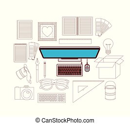 device desktop computer in color with silhouette elements for graphic design on white background