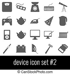 Device. Icon set 2. Gray icons on white background.