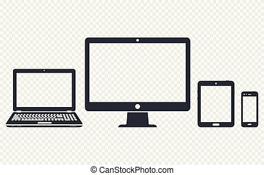 Device icons - desktop computer, laptop, smart phone and tablet on transparent background