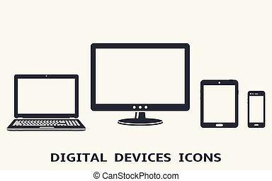 Device icons set: smart phone, tablet, laptop and computer monitor. Vector illustration of responsive web design.