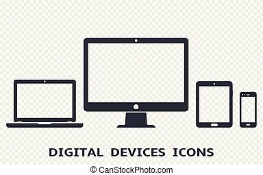 Device icons set: smartphone, tablet, laptop and desktop computer. Vector illustration of responsive web design.