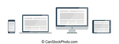 Device icons set - Silhouette vector responsive web design...