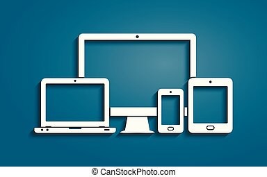 Device icons - smart phone, tablet, laptop and desktop computer. Vector illustration of responsive web design.