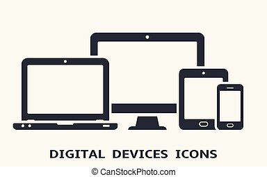 Device icons: smart phone, tablet, laptop and desktop computer. Vector illustration of responsive web design.