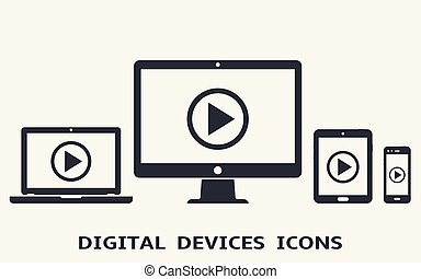 Device icons: smart phone, tablet, laptop and desktop computer with play button on screen. Vector illustration of responsive web design.