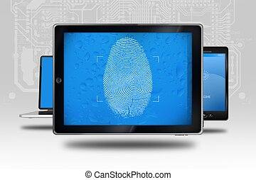Device Identity Check. Tablet Computer with Fingerprint...